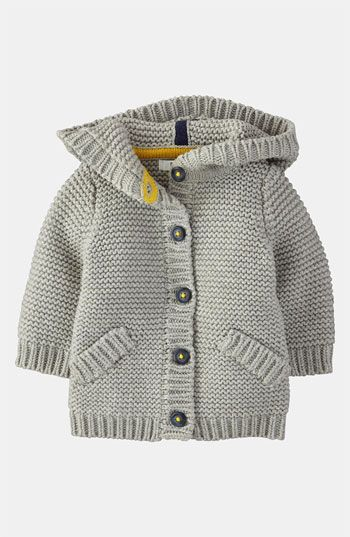 Free shipping and returns on Mini Boden 'Chunky' Cardigan (Infant) at Nordstrom.com. A chunky, hooded knit cardigan crafted from pure cotton is secured by a row of cute little buttons.