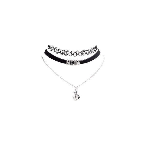 Kitty Tattoo Choker Trio found on Polyvore featuring women's fashion, accessories, jewelry, colar and necklaces