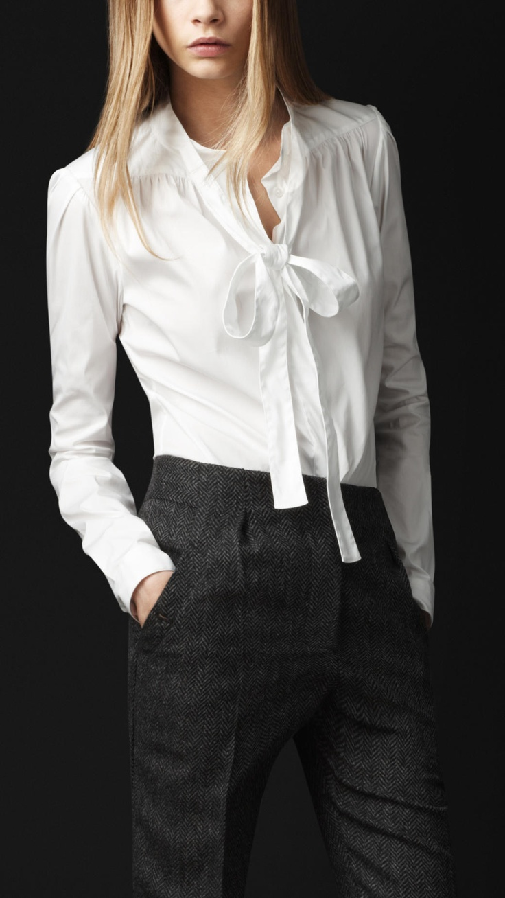 Burberry Stretch-Cotton Tie Neckline Shirt. Feminine androgyny.