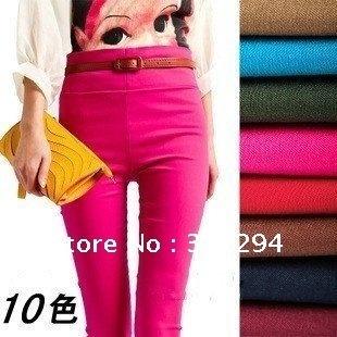 Novas mulheres chegada elásticas pés magros leggings calças lápis com calças de alta qualidade da senhora, 10 cores G1611