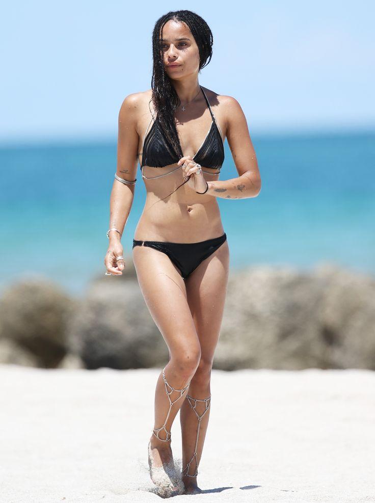 Zoë Kravitz Rocks a Black Bikini and Body Chains in Miami