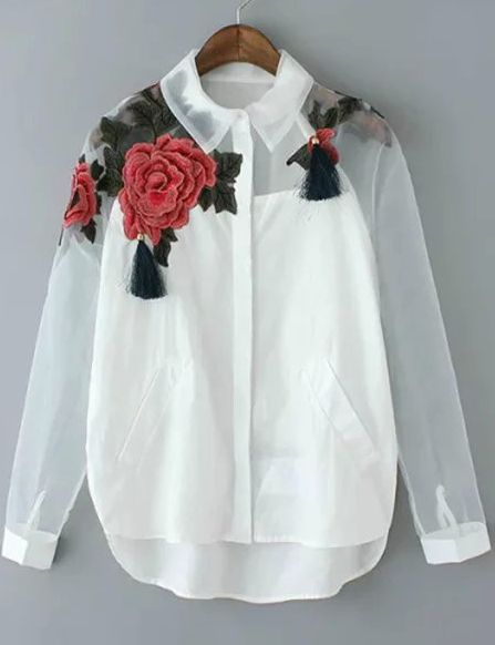 White Lapel Long Sleeve Embroidered Organza Blouse