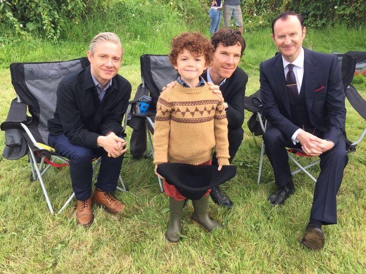 Martin, Benedict, Mark and Tom Stoughton (mini Sherlock) - The Final Problem behind the scenes. Sherlock Season 4 Episode 3.