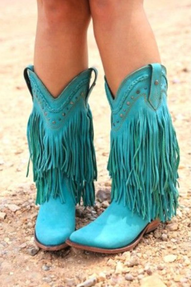 Turquoise boots...Cute