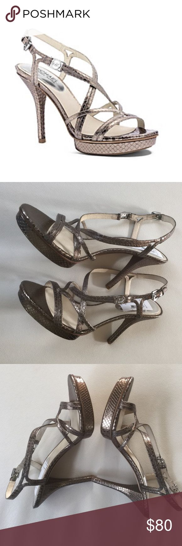 Micheal Kors Silver Dress Sandal Michael Kors Cicely Dress Sandal. NWOB. Gorgeous metallic, leather upper sandal with silver hardware. These are listed as a size 10 but these run a size small. I would say a size 9. Michael Kors Shoes Sandals
