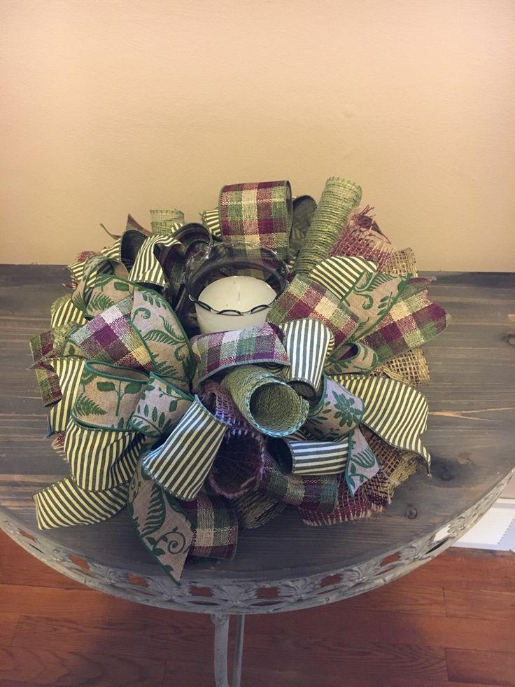 Home Decor, Decorative Centerpiece, Table Centerpiece, Small Wreath, Fall Centerpiece, Fall Candle Ring, Decorative Candle Ring, Everyday Décor, Deco Mesh Candle Ring/Centerpiece, Housewarming Gift