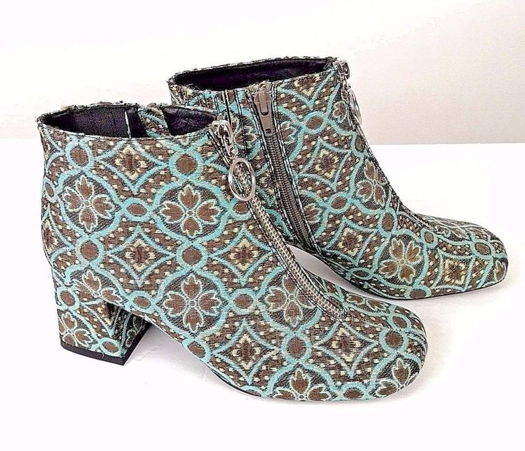 Jeffery Campbell Short Boot Sz 7 Tapestry Turquoise Gray Gold Metallic New #JefferyCampbell #Booties #Party