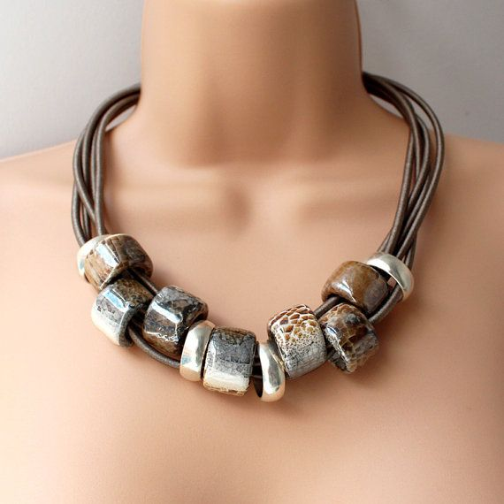 Chunky Greek Ceramic Statement Necklace by AlixHDesigns on Etsy, $55.00