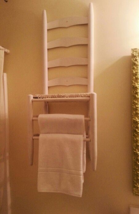 Old Ladder Back Chair Repurposed As A Bathroom Towel Rack.