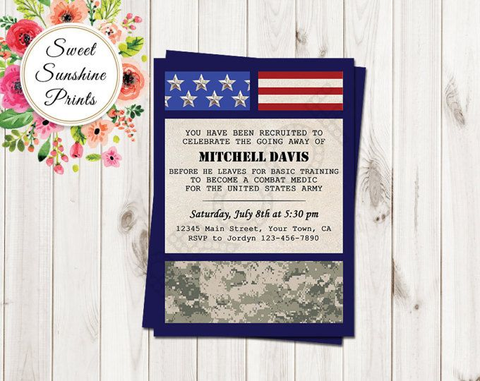 Military Going Away Party Invitation, Deployment Party, Basic Training Party Invitation, Welcome Home Party Invitation, Patriotic Invite