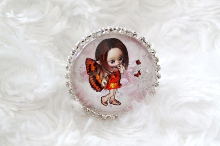 Grosse bague cabochon en verre loupe motif fillette elfe : Bague par tom-fimo-creations