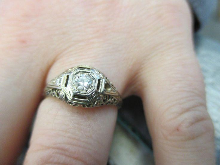 Victorian Basket set 18k white gold petite diamond rings 4 3/4 Low start