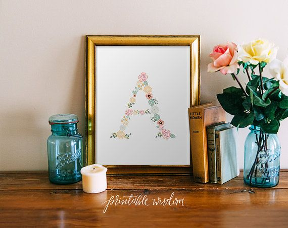This printable features a letter created entirely of flowers.... dainty yet still bold enough to make a statement! This product is a JPEG