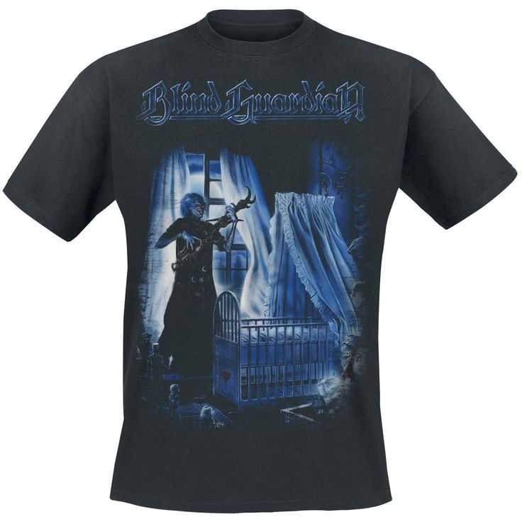 The German power metal version of the 50s song 'Mr Sandman' was one of the first singles by the guys from West Germany. Here's the shirt to match the lullaby à la Mr Kürsch. The black 'Blind Guardian - Sandman' t-shirt is nice and spooky. Sweet dreams, my child!