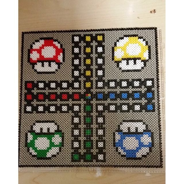 1Up Mario board game perler beads by rantzowperler