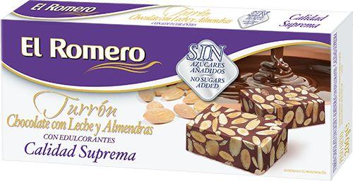 Turron de Chocolate con Leche con Edulcorante EL ROMERO Calidad Suprema 200 g x 24 unidades