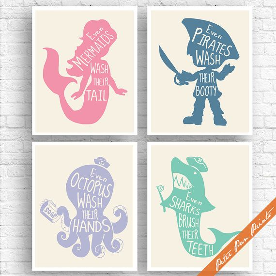 Superb Unisex Kids Funny Bathroom (A)   Set Of 4 Art Print (Unframed) (Rose, Blue  Jeans, Periwinkle, Sea Foam On Soft Cream) Boys / Girls Bath Art