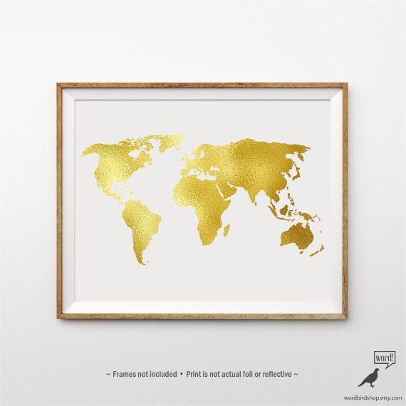 Gold World Map Poster Matte Gold Print Large World by WordBirdShop