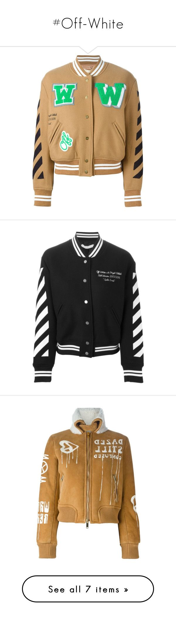 """#Off-White"" by lolgenie ❤ liked on Polyvore featuring outerwear, jackets, off white jacket, letterman jackets, varsity jacket, college jacket, striped jacket, black, bomber style jacket and bomber jacket"