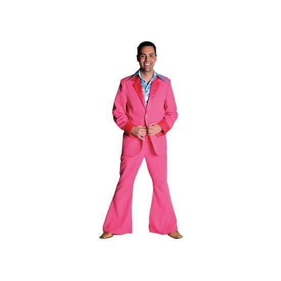 Luxe roze 70's kostuum voor heren. Dit roze 70's kostuum voor heren bestaat uit de roze broek en roze colbert. Het roze kostuum is van brandvertragend materiaal gemaakt en heeft een normale pasvorm. Materiaal: 100% polyester.