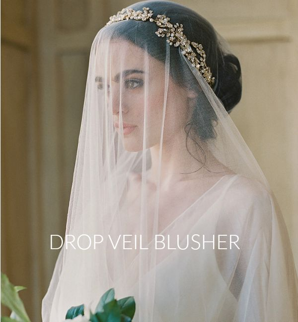 drop veil blusher veil with gold halo