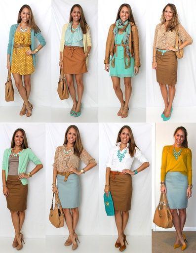 Cute spring work outfit   mustard yellow cardigan, light blue pencil skirt, tan cognac pencil skirt, aqua dress, white blouse, tan blouse outfit