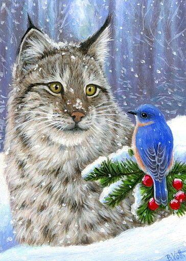 ACEO original bobcat cat blue bird winter snow berries wildlife painting art | Art, Paintings | eBay!
