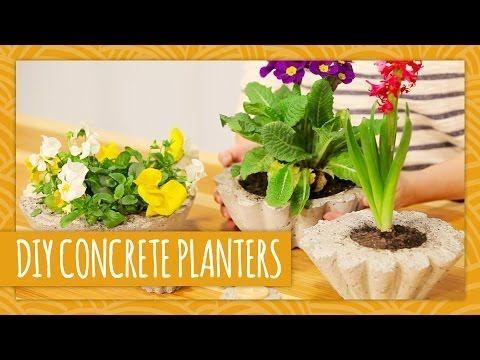 DIY How to Make Your Own Cute Concrete Planters | www.FabArtDIY.com