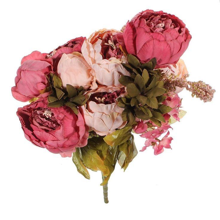 NO:1 künstliche Pfingstrose Seidenblumen Strauß Hochzeit Partei Blumenstrauß Dekoration Dunkelrosa