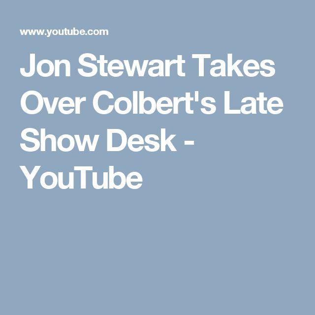 Jon Stewart Takes Over Colbert's Late Show Desk - YouTube