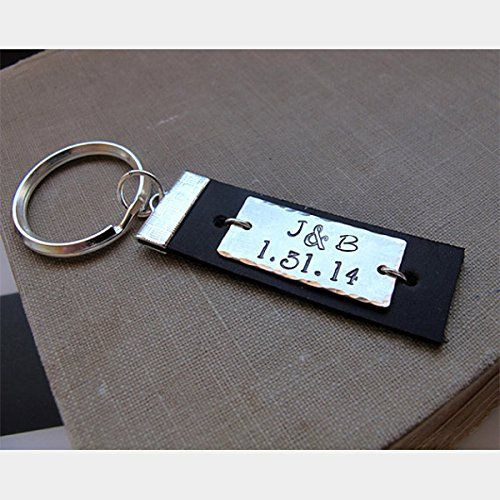 Custom Keychain for Men - Personalized Leather Key Chain - Custom Engraved Mens Gift. A must-have accessory for men. This leather keychain is made with a metal plate. I can engrave any message on it: initials, a date, a phrase etc. Order the custom accessory to make a nice gift for your dad, friend or special one. This would be the gift to remember! Features: - Quality leather - Hammered metal plate - Custom engraving Info: Genuine Leather - Brown or Black Metal - Stainless Steel, Golden...