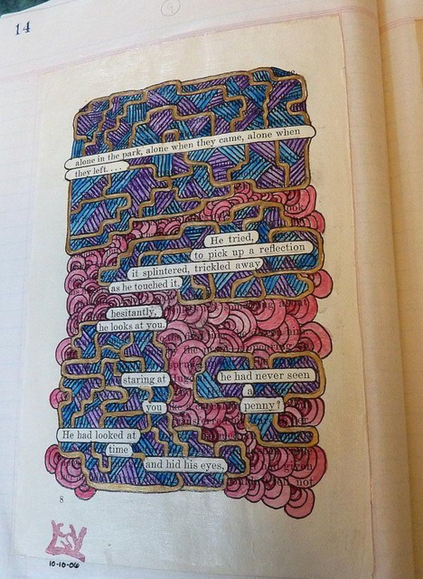 Altered Book Art Project. A page taken from an old book, with certain words left uncovered by painting to create a found poetry style statement, then applied to a page in an old style type journal/ledger. http://hative.com/old-book-art-examples/