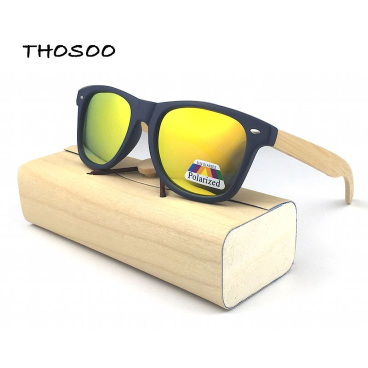 THOSOO  Blue PC Frames with Wood Arm Sunglasses and Mirror Polarized Lens gafas de sol steampunk Sun Glasses 8colors #Affiliate