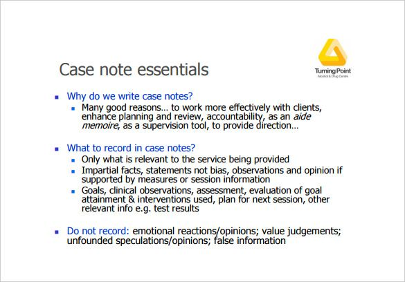 case notes template