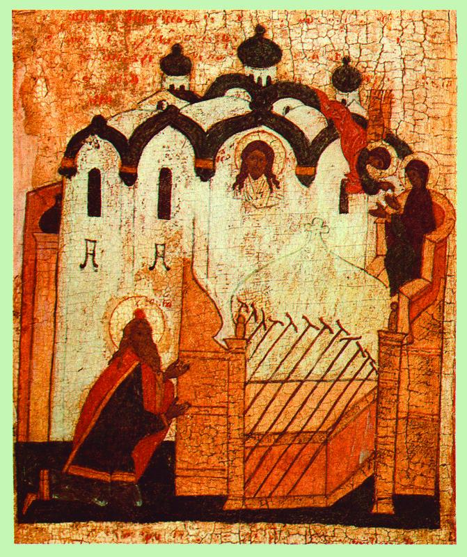 XVI в.  Введение во Храм с житием Марии. Клеймо. Моление о посохах