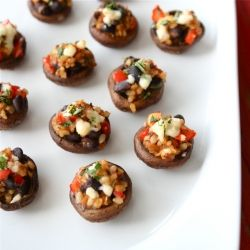 Southwestern Stuffed Mushrooms with Black Beans & Brown Rice - A healthy version of the classics.