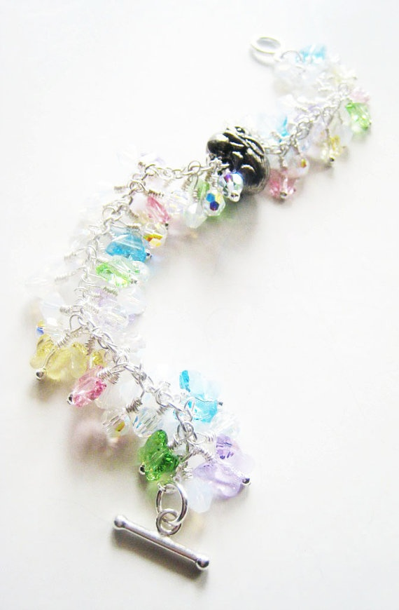 Pastel butterfly and bunny crystal bracelet in by LittleBearsMom.etsy.com, 120.00