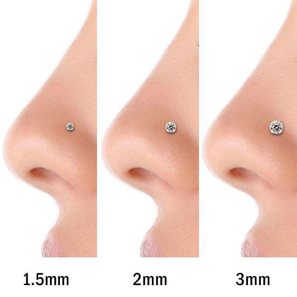 FreshTrends 1.5mm (.015 ct. tw) Diamond 14K White Gold Nose Rings Twist Screw (20G - 16G) at FreshTrends.com