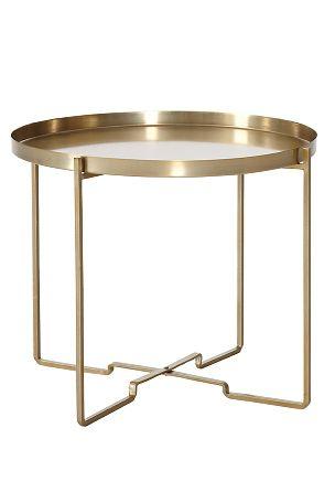 Sofabord med aftagelig bakke.Sammenklappeligt stel. Af metal. Ø 57 cm. Højde 48 cm. <br><br>