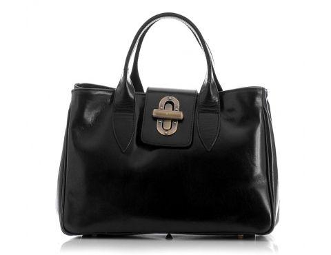 Skórzana torebka damska czarna MILENA