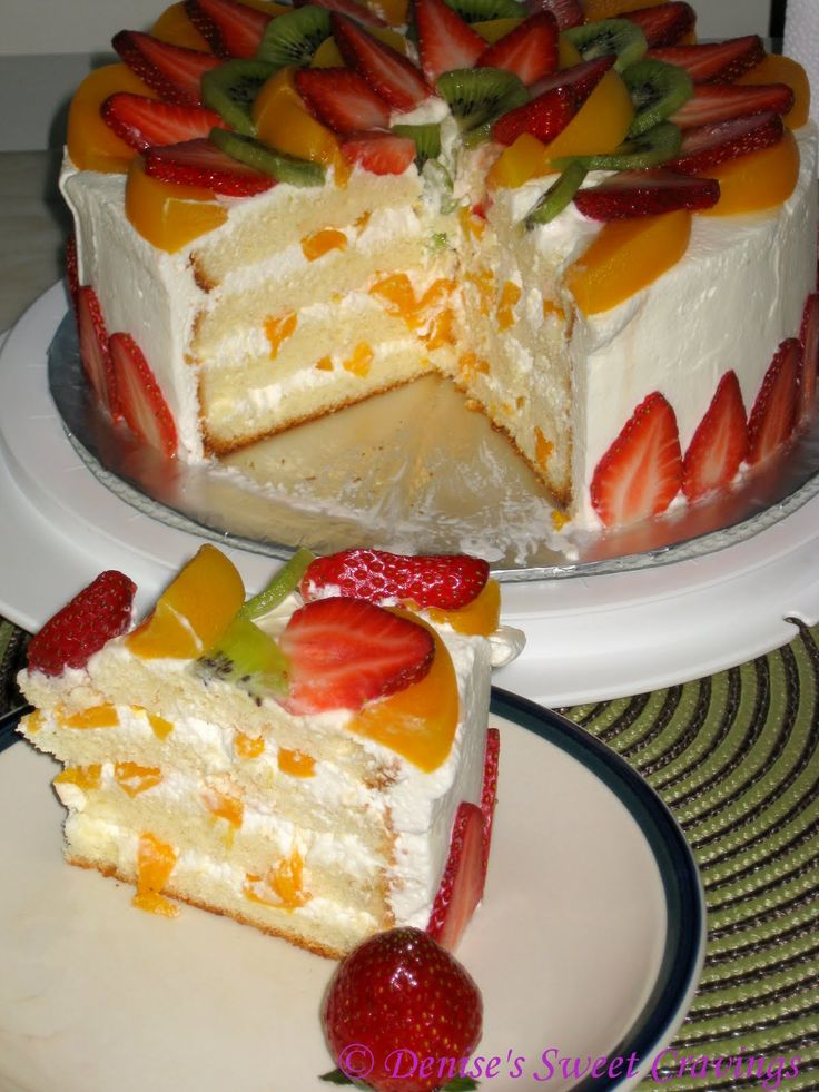 fresh fruit | HOW's Baking: Vanilla Chiffon with Fresh Fruits Topping