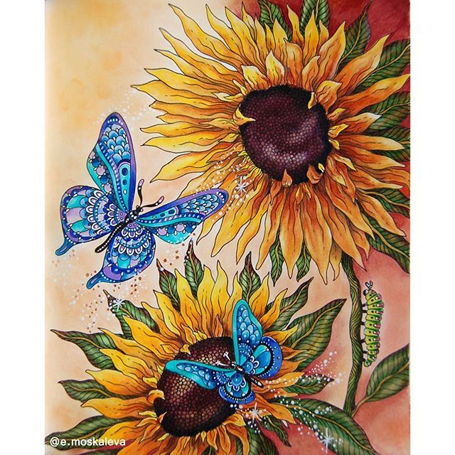 Sunflowers and butterflies #hannakarlzon #hannakarlzondagdrömmar #dagdrömmar #daydreamscolouring #sommarnatt #prismacolor #summernights #summernightscoloringbook #arte_e_colorir #kolorowankadladorosłych #adultcoloring #adultcoloringbook #coloring #раскраскидлявзрослых #раскраски #раскраскиантистресс #розмальовка #розмальовкадлядорослих #coloredpencil #coloringbook #creativecolouring #beautifulcoloring #coloringmasterpiece #boracolorirtop #bayan_boyan #artecomoterapia #colorindolivro...