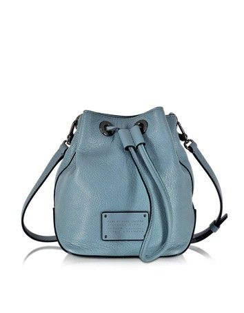 NEW TOO HOT TO HANDLE DRAWSTRING ICE BLUE LEATHER BUCKET BAG MARC BY MARC JACOBS