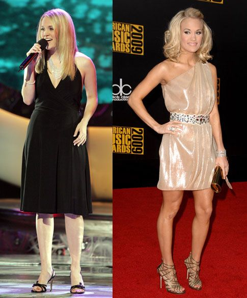 When we first met the lovely Carrie Underwood on American Idol, as you can see from the photo on the left, she was already slim and beautiful. But five years later, this 5-foot-3 star has really toned up, going from a size six to a teeny size two. Proud