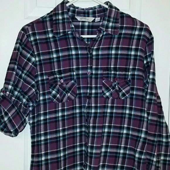Ladies Flannel shirt Great West Clothing Co. flannel shirt.  Really cute purple, blue, black and white plaid. It has a button on the arm so you can attach the sleeve or of course it can he worn long. Great condition. Great Northwest Clothing Co. Tops Button Down Shirts