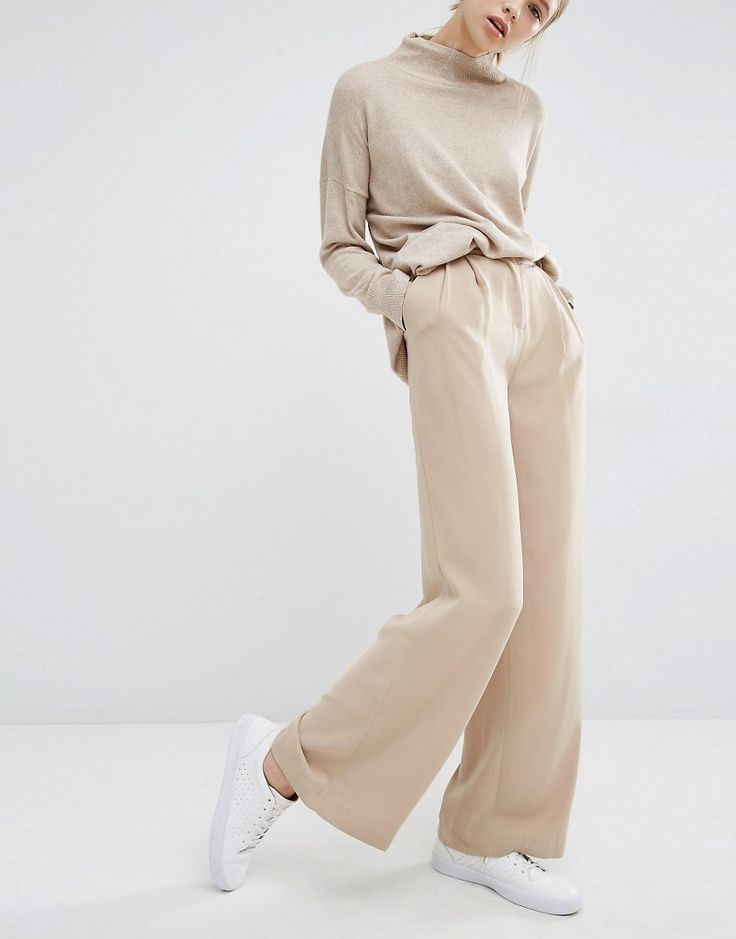Paisie Wide Leg Trousers With High Waist And Side Pockets