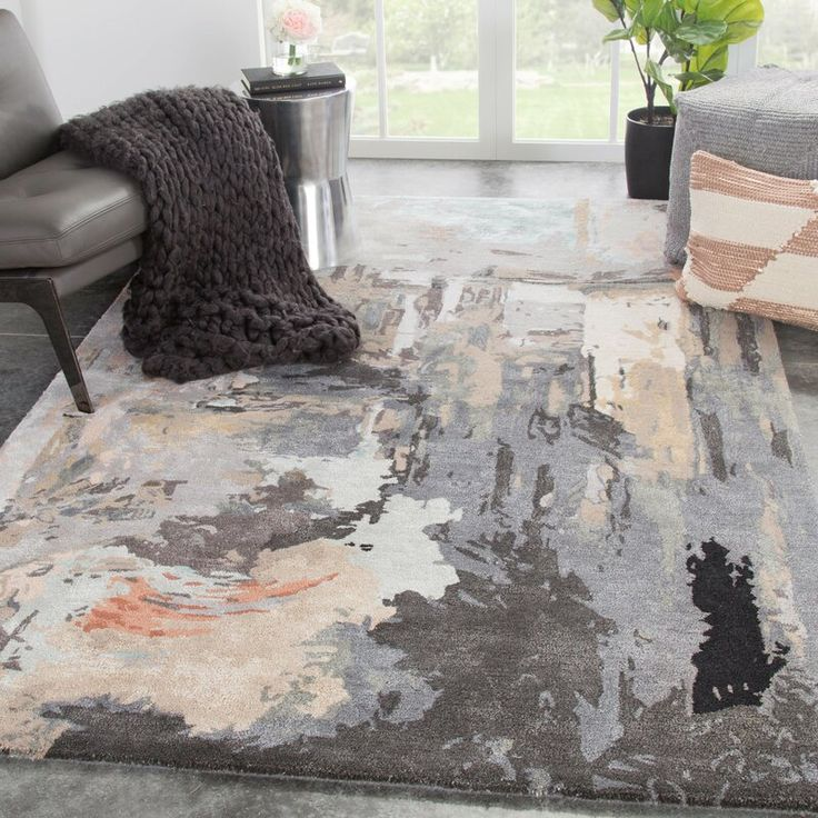 Abstract Handmade Tufted Gray Beige Brown Area Rug Area Rugs Handcrafted Rugs Colorful Rugs