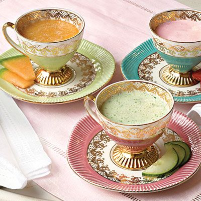These chilled soups—strawberry, cucumber, and cantaloupe—create a trio of beautiful spring colors. Serve them in tiny demitasse cups for an elegant touch.: Teas Time, Teas Cups, Bridal Shower Ideas, Soups Bowls, Chill Soups, Cold Soups, Tea Cups, Teacups, Teas Parties