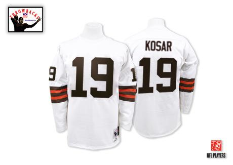 Mitchell And Ness Cleveland Browns #19 Bernie Kosar White Authentic Throwback NFL Jersey Sale