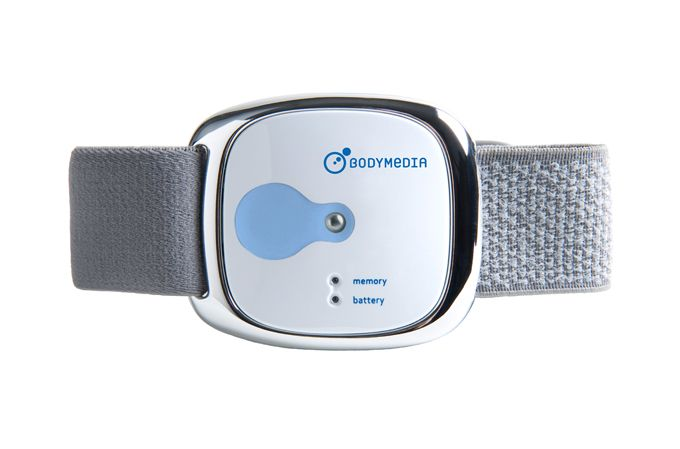 """Bodymedia FIT Armband BW  from Wired: """"sensors and algorithms track heat flux, sweat rate, pulse, and other variables for a full metabolic picture that includes caloric burn, activity levels, and even sleep quality."""""""